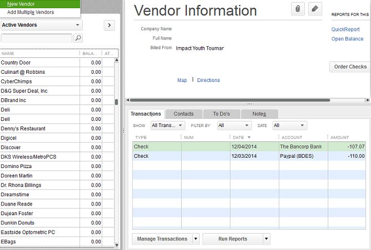 Add a vendor in QuickBooks