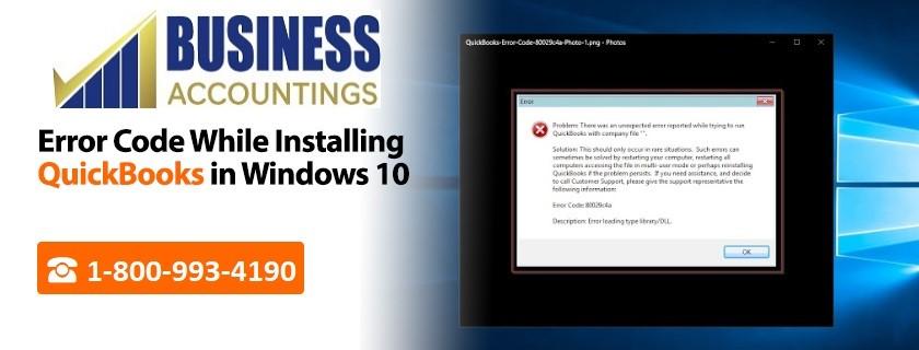 Error code while installing QuickBooks in Windows 10