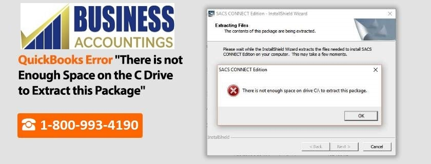 """QuickBooks Error """"There is not enough space on the c drive to extract this package"""""""