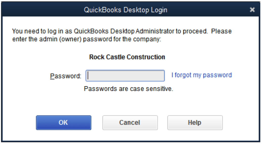 QuickBooks Require for Administrator password