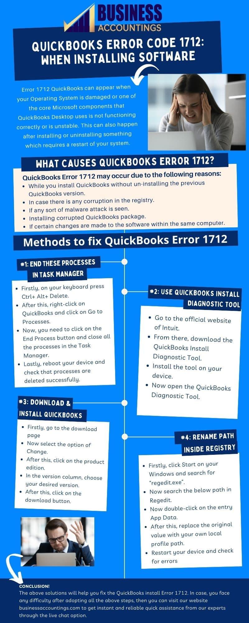 Infographic of Solutions for QuickBooks Error 1712