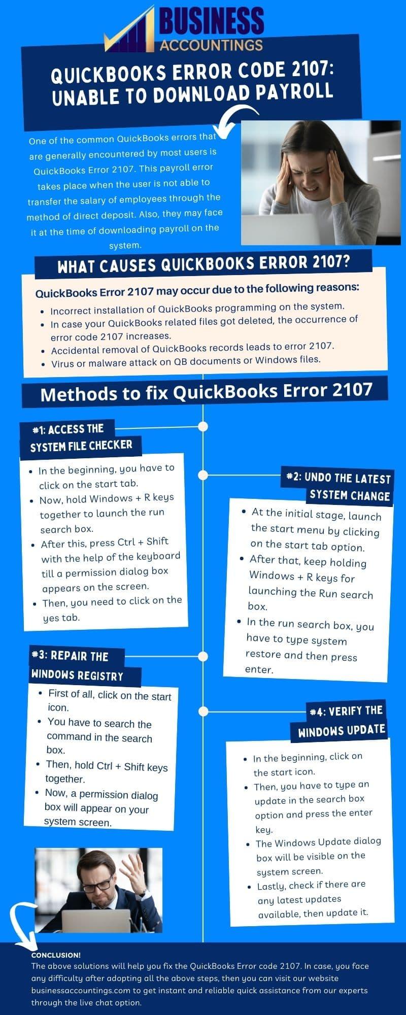 Infographics of Solutions for Quickbooks Error Code 2107