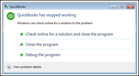 Error QuickBooks Has Stopped Working Screenshot