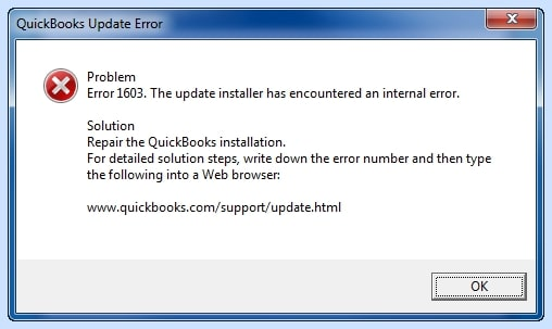 QuickBooks Error 1603 Exactly Shown When it Occurs