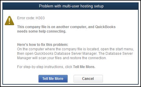 QuickBooks Error Code H303 Message Screenshot