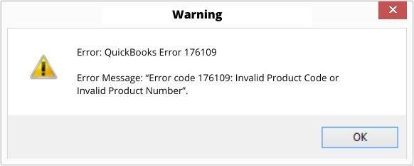 QuickBooks Error code 176109 Invalid Product Code or Invalid Product Number