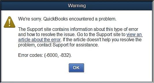 QuickBooks error 6000 832 exact error shown