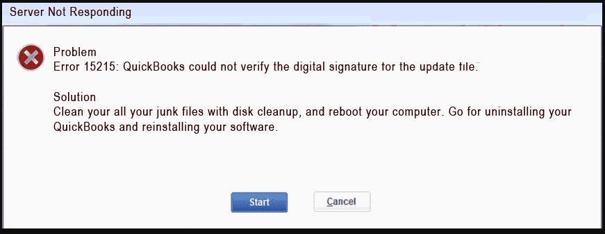 quickbooks error code 15215 server not responding exact looks like